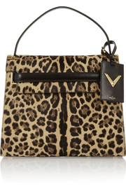 My Rockstud leopard-print calf hair and suede tote