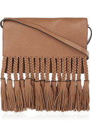Tasseled textured-leather shoulder bag