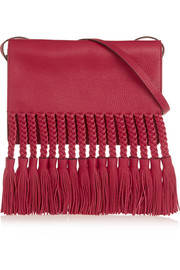 Fringed textured-leather shoulder bag