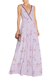 Tulle-trimmed floral-print silk crepe de chine gown