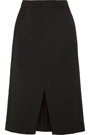 Stretch wool-blend twill skirt