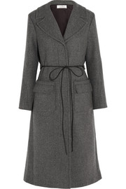 Belted wool-blend twill coat
