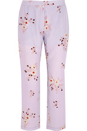 Floral-print crepe de chine tapered pants