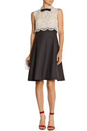 Valentino Lace and wool and silk-blend crepe dress