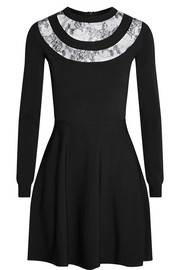 Lace-paneled stretch-knit mini dress