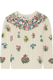Valentino Embroidered wool and alpaca-blend sweater