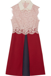 Valentino Lace and wool and silk-blend crepe mini dress