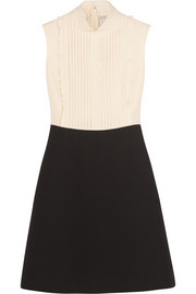 Lace-trimmed wool and silk-blend crepe mini dress