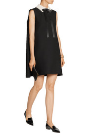 Valentino Cape-back wool and silk-blend crepe mini dress