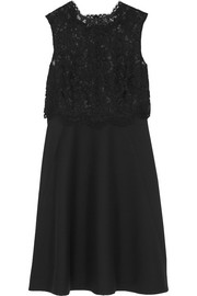 Lace and wool and silk-blend crepe dress