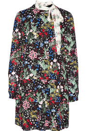 Floral-print silk-georgette mini dress