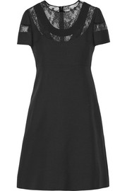 Lace-paneled wool and silk-blend crepe mini dress