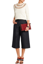 High-rise denim culottes