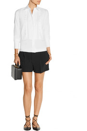 Valentino Lace and pique-trimmed cotton-poplin shirt
