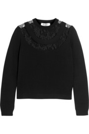 Lace-paneled knitted sweater
