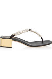 René Caovilla Embellished leather sandals