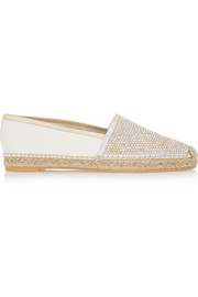 Crystal-embellished metallic leather espadilles