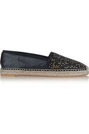 Crystal-embellished leather espadrilles