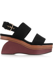 Color-block felt wedge sandals