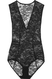 Luxembourg Mogador stretch-Leavers lace bodysuit