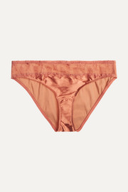 La Pagode Concorde lace-trimmed stretch-satin briefs