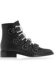 Elegant studded ankle boots in black leather