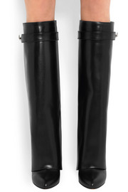 Shark Lock wedge knee boots in black leather
