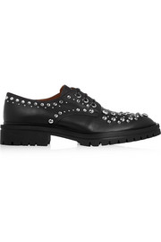 Derby leather brogues with silver eyelets and studs