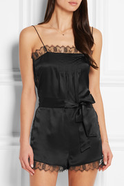 La Pagode Richelieu Leavers lace-trimmed silk-satin playsuit