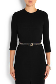 Studded belt in black textured-leather