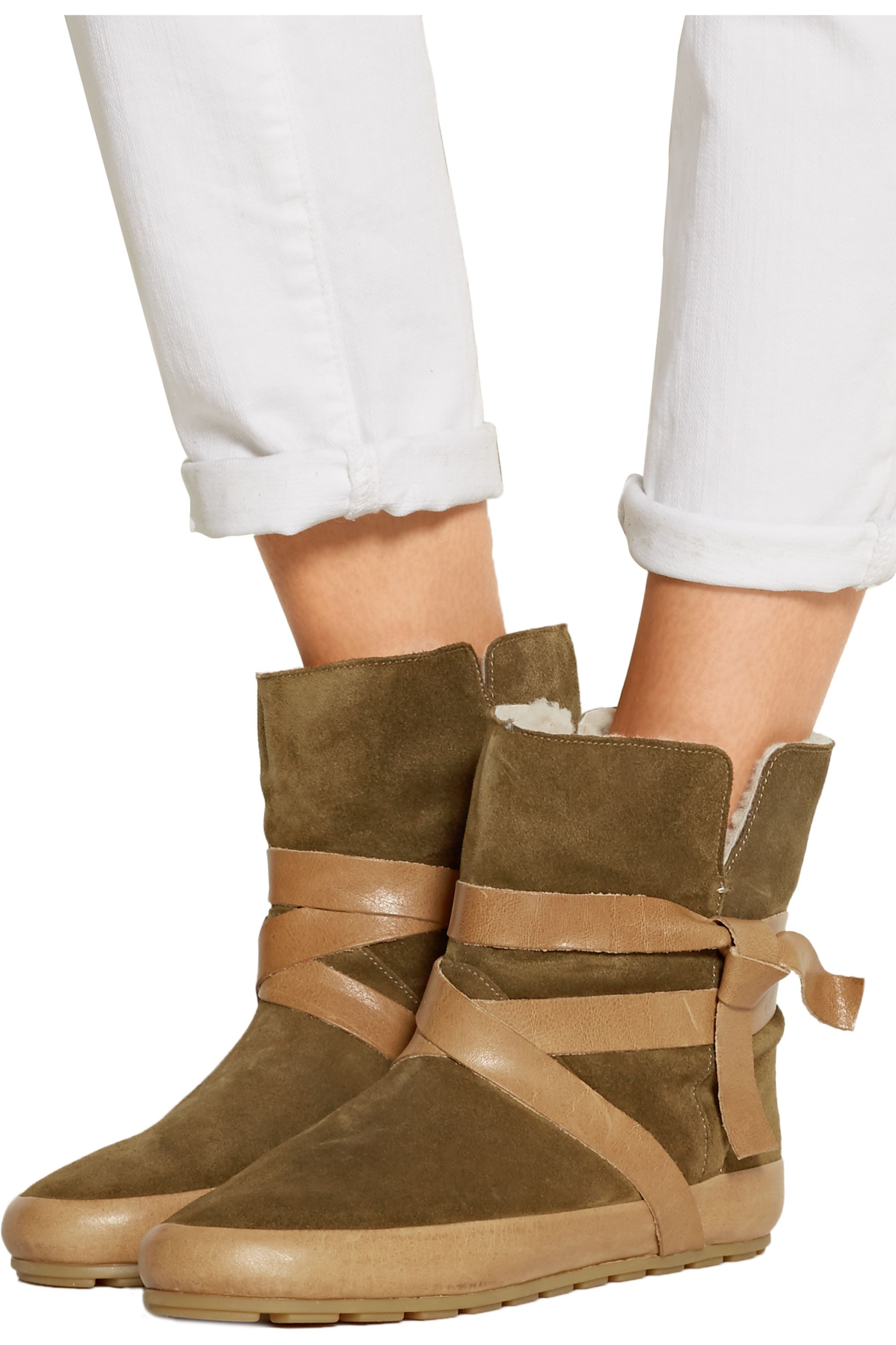 Isabel Marant Nygel leather and shearling ankle boots
