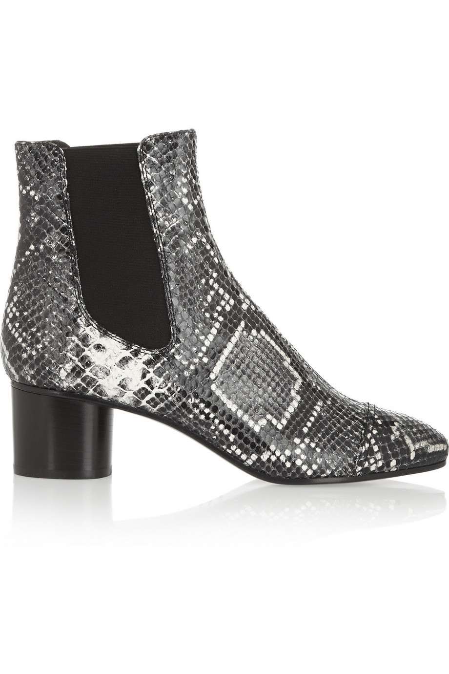 Isabel Marant Danae Snake-Effect Leather Ankle Boots, Gray/Snake Print, Women's US Size: 3.5, Size: 35