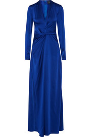 Twist-front satin gown