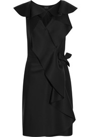 Lanvin Ruffled brushed-satin wrap mini dress