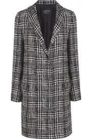 Prince of Wales check wool-blend tweed coat