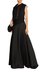 Jersey-paneled wool and silk-blend maxi skirt