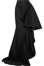 Ruffled wool and silk-blend maxi skirt
