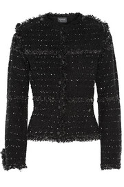 Embellished metallic wool-blend tweed jacket