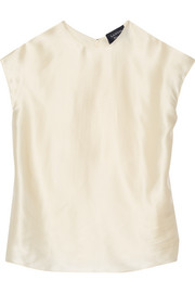 Draped-back silk-satin top