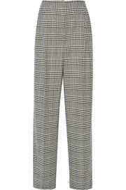 Plaid wool-blend wide-leg pants