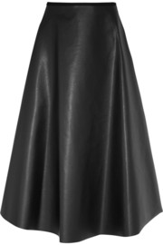 Fluted faux leather midi skirt