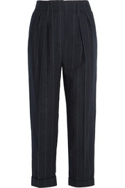 Cropped pinstriped wool tapered pants