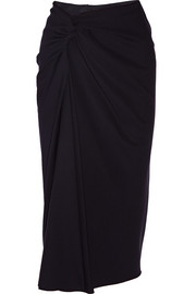 Draped wool-crepe midi skirt