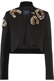 Cropped embellished wool jacket
