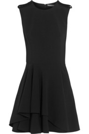 Fluted stretch-crepe mini dress