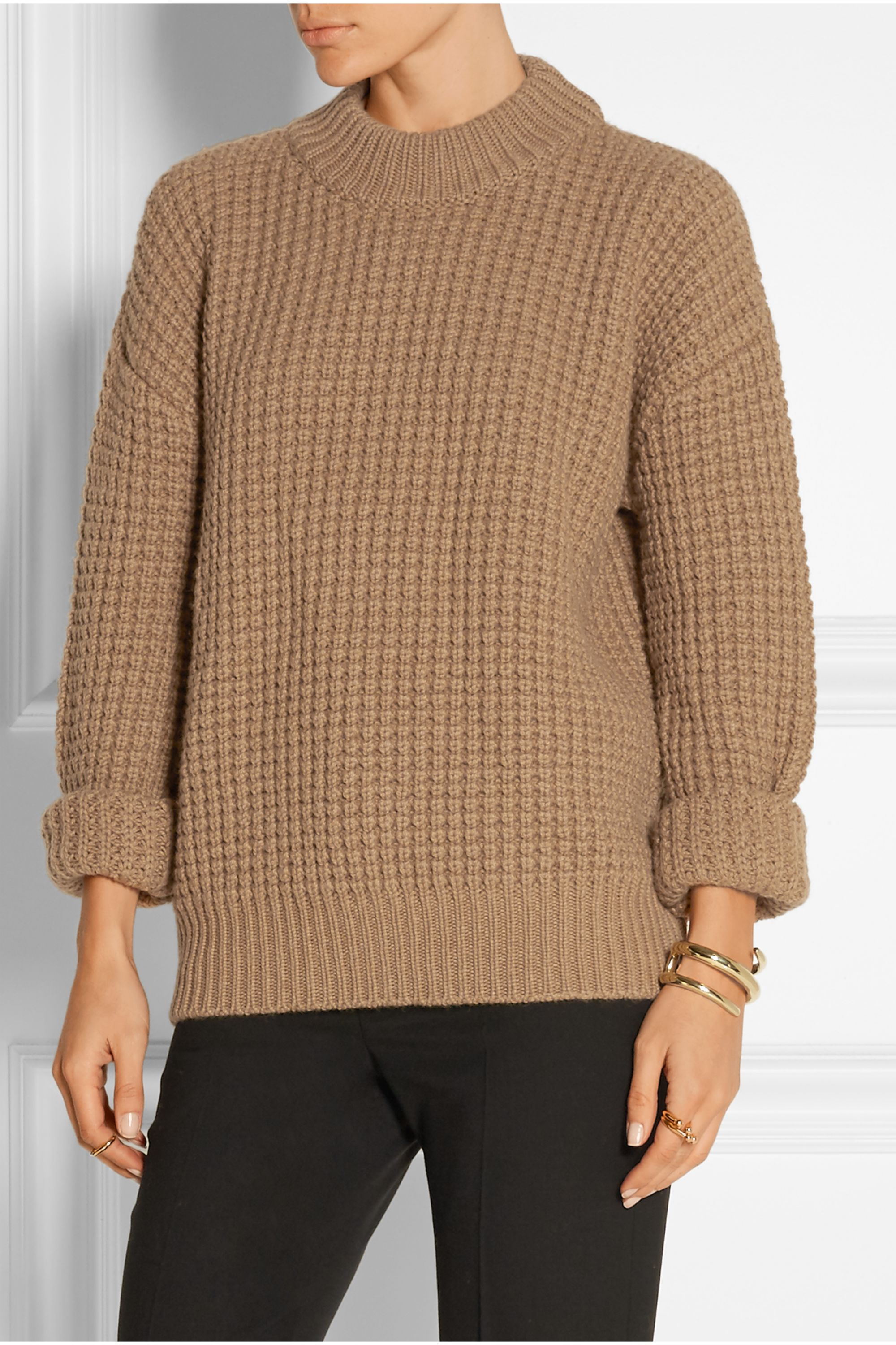 Calvin Klein Collection Waffle-knit camel hair sweater