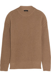 Waffle-knit camel hair sweater