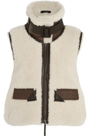 Leather-trimmed shearling vest