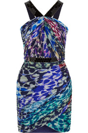 Printed silk-chiffon mini dress