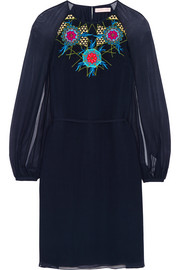 Embroidered silk-georgette dress
